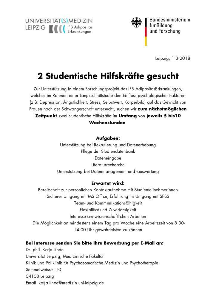 Ifb Adipositaserkrankungen 2 Studentische Hilfskräfte Gesucht