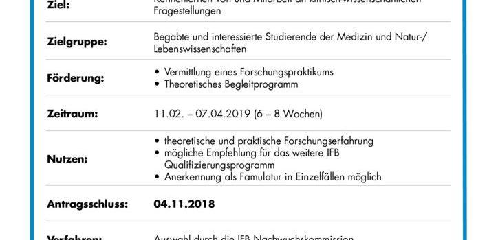thumbnail of IFB MS Pro Forschungspraktikum Ausschreibung 2019
