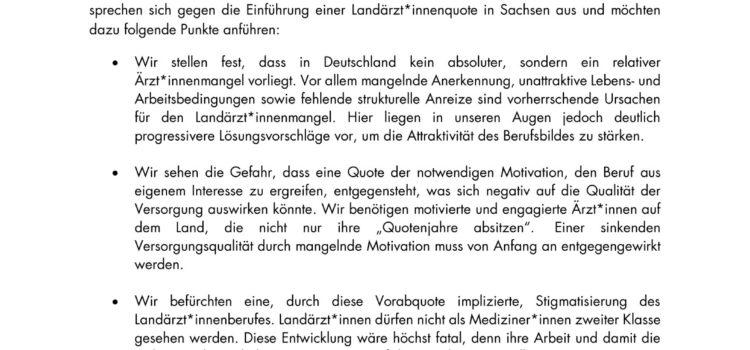 """Stellungnahme zur """"Landarztquote"""" in Sachsen"""