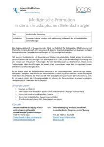 Medizinische Promotion in der arthroskopischen Gelenkchirurgie