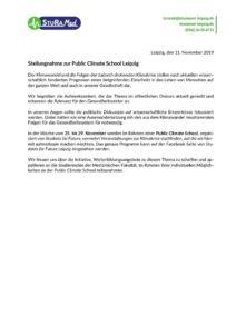 Stellungnahme zur Public Climate School
