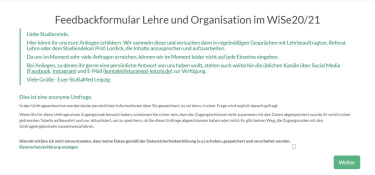 Neu: Feedbackformular Lehre und Organisation im WiSe 20/21